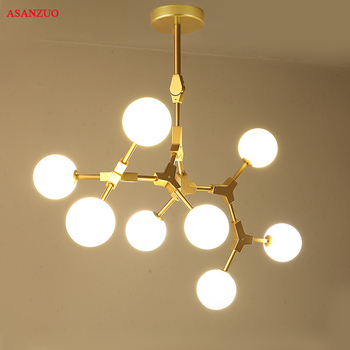 Nórdicos magia de ramificación lámpara para comedor de vidrio de ...