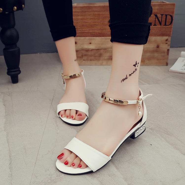 elegant women Buckle Female Rhinestone shoes open toe lady Peep Toe Footwear low heel woman ankle strap Sandals black White elegant wedges open toe women sandals ankle buckle rivet shoe women cross tied women casual shoes rome hollowed out lady sandals