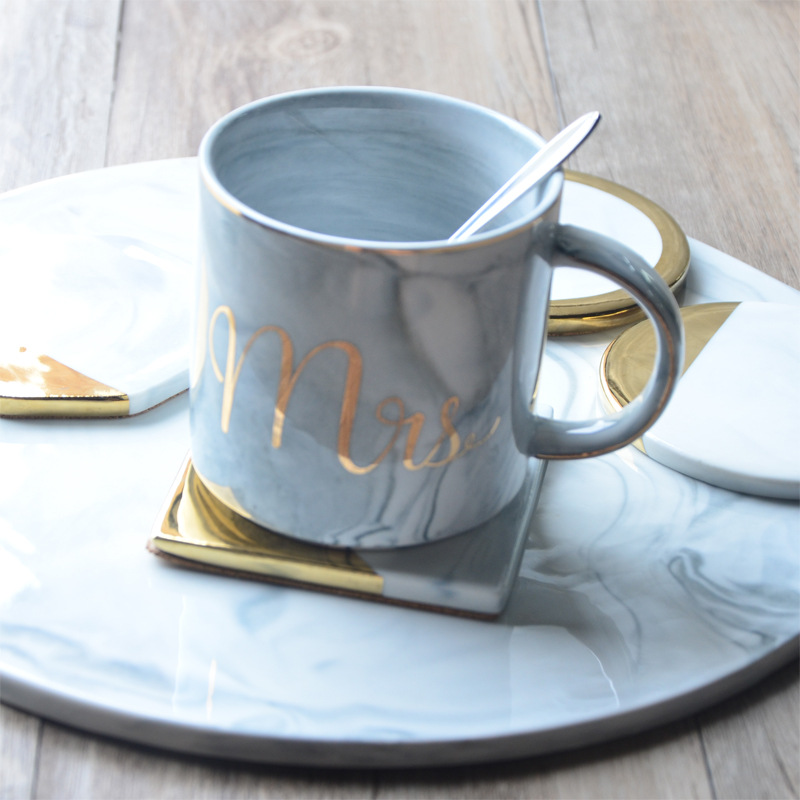 1 Styles Dali Marble Cup Mat Gold Marble Coaster Cup Mat Round Square Octagon Placemat Pad Holder Mug Coaster Table Placemat