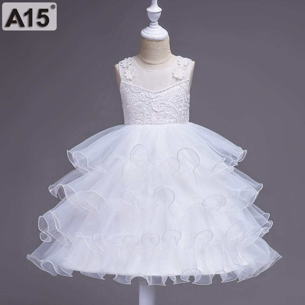 A15 Summer Flower Girl Dress Ball Gowns Kids Dresses for Girls Party Princess Girl Clothes for 4 5 6 8 12 14 Year Birthday Dress summer 2017 new girl dress baby princess dresses flower girls dresses for party and wedding kids children clothing 4 6 8 10 year