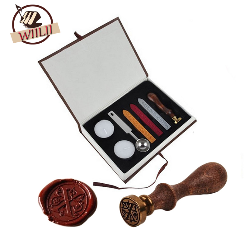 Classic Vintage Alphabet A-Z Optional Wax Badge Seal Stamp w/Wax Kit Set Letter Wax Seal Kit Set Handmade Hobby Tools Sets mdlg vintage alphabet letter z crown wedding invitations gift cards wax seal stamp stationary sealing wax stamp wood handel set