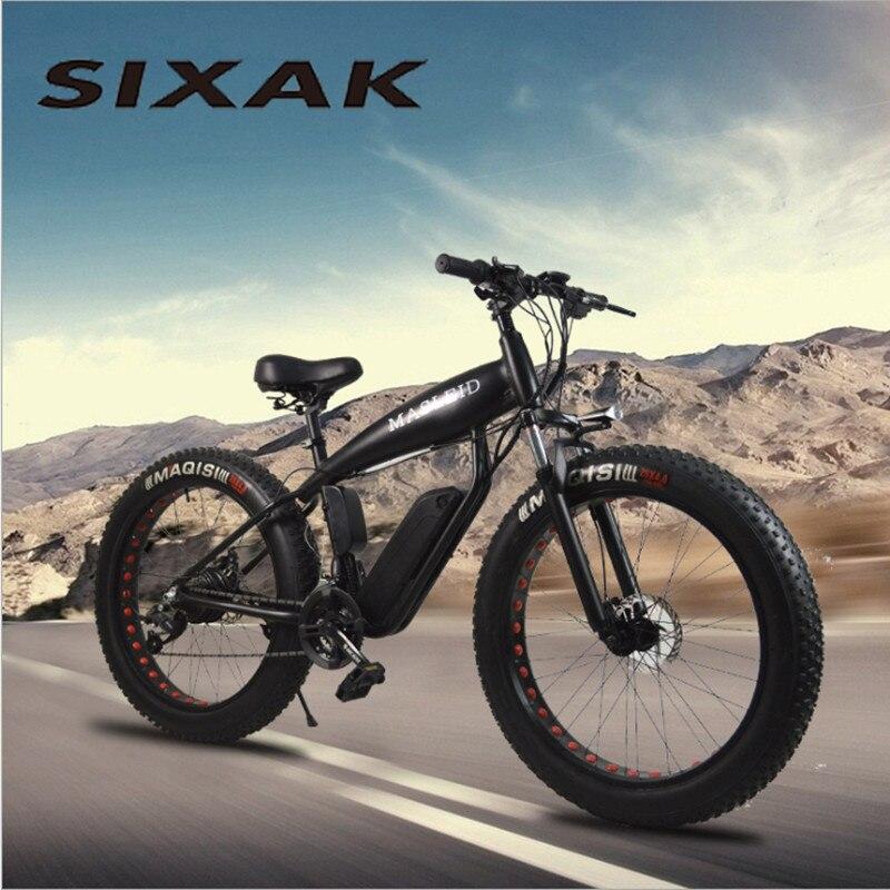 Bicicleta Eléctrica SIXAK 500 W 24 velocidades fuerte grasa eléctrica batería de litio bicicleta eléctrica 26*4 cross-country bicicleta fat bike