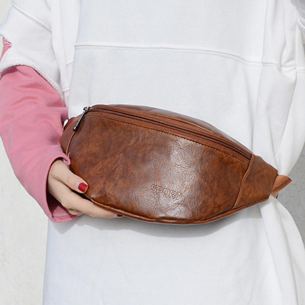 PU Leather Fanny Pack For Men Women Antitheft Waist Packs Crossbody Chest Belt Bags Female Waist Bag Women Men Bag 2019