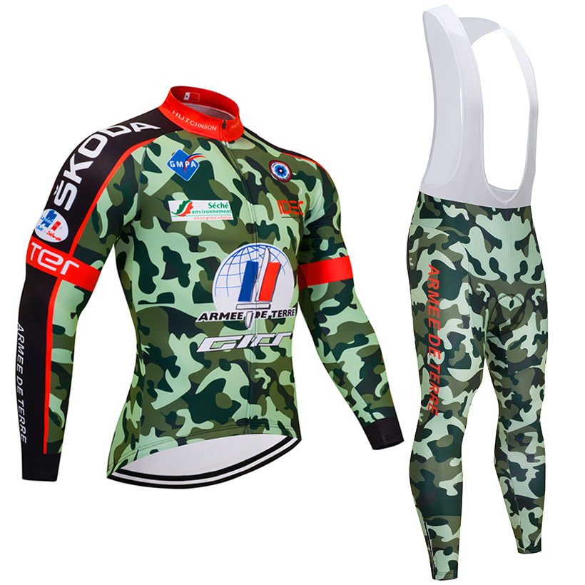 2018 TEAM France CAMO Cycling JERSEY Bike Pants set mens Ropa Ciclismo summer Bicycle jacket Long Cycling wear Maillot Culotte xintown men winter team ropa ciclismo outdoor cycling jersey bike bicycle jersey jacket long bib pants set 3 color option