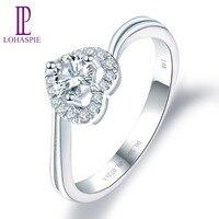 LP обручальное кольцо с бриллиантом 14 K White Gold Moissanite бриллиантовое 0.30ct Настоящее Акцент ювелирные изделия из чистых бриллиантов для Для женщи