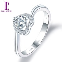 LP Engagement Diamond Ring 14K White Gold Moissanite diamond 0.30ct Real Accent diamond Fine Jewelry For Women's Wedding Gift