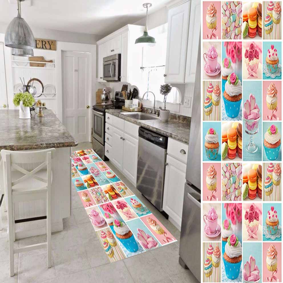 Else Pink Blue Brown Cup Cake Patchwork Candy 3d Print Non Slip Microfiber Washable Long Runner Mat Kitchen Rugs Hallway Carpets
