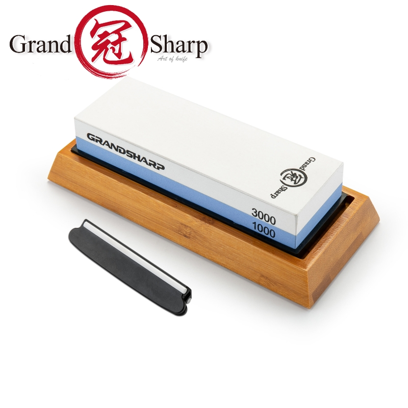 Sharpening Stone 1000 & 3000 Grit Double Sided <font><b>Whetstone</b></font> Set For Knives With Non-Slip Bamboo Base Free Angle Guide Corundum image