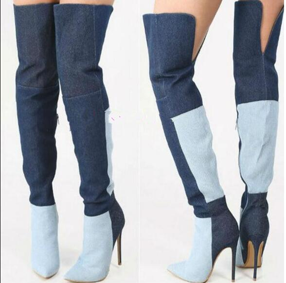 LoneLinecc New Mixed Colors Floke Over-the-Knee Boots Pointed Toe Fashion Women's Shoes Sexy thin Heels 10.5cm High Knight Boots gladiator shoes denim thigh high boots women boots 2017 winter shoes over the knee fashion pointed toe thin heels mixed colors