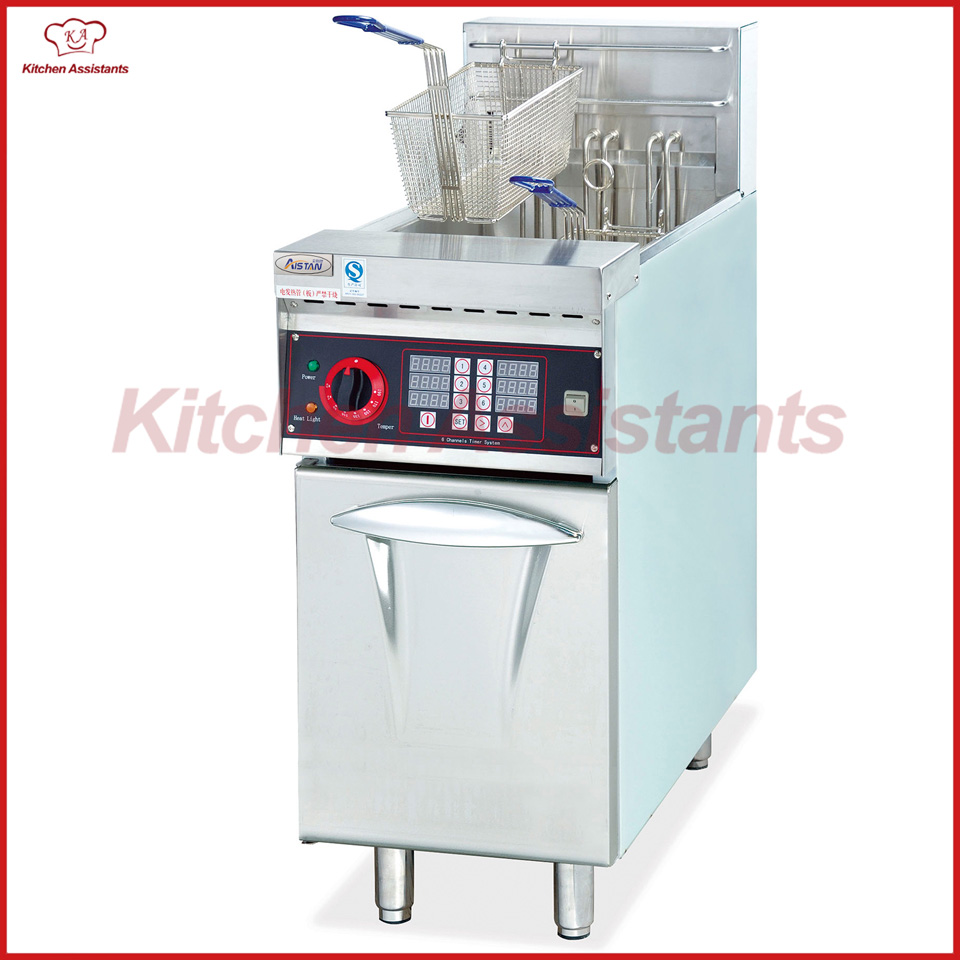 DF26A 1 tank free standing vertical electric oil fryer with timer for restaurant chip fried df33a luxury electric computer fryer with 1 tank 2 baskets with oil filter cart