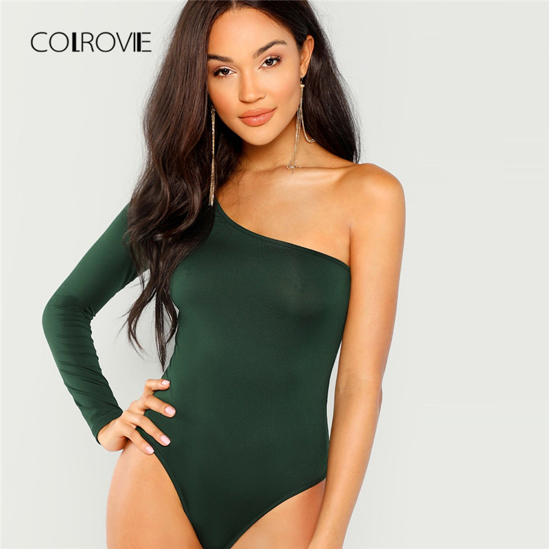 Detail Feedback Questions about COLROVIE Green Solid One Shoulder Girl Sexy  Bodysuit Women 2018 Autumn Long Sleeve Slim Female Skinny Party Basic  Bodysuits ... b9bdaac33