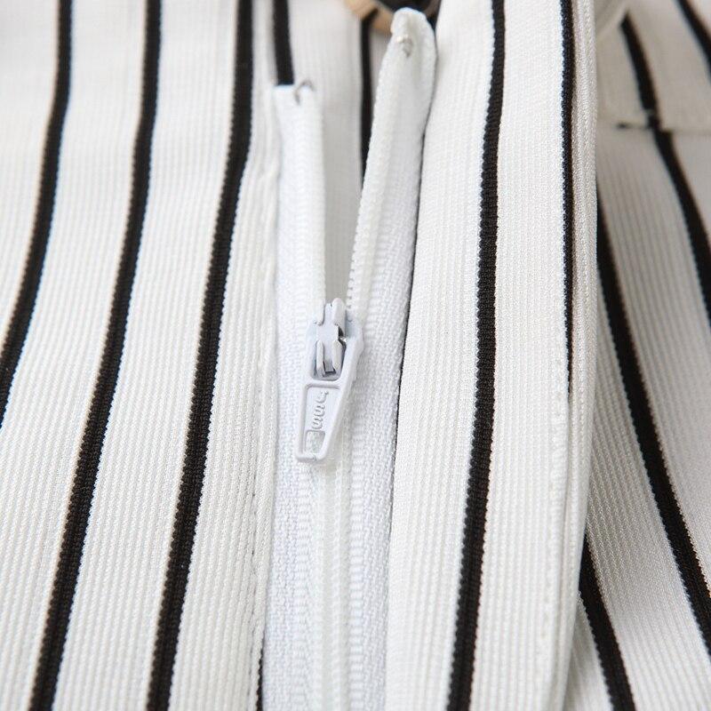 Pierna Oficina Señora Rayas De Las Blanco Cintura Moda Anchos Natural Mujeres Negro Pantalones Elegante 2018 La Stripe Negocio 8qaW0H