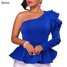 цена на 2018 Women Fashion Summer Slash Neck One Shoulder Ruffles Petal Sleeve Asymmetric Hem Slim Tops Blouse Xnxee