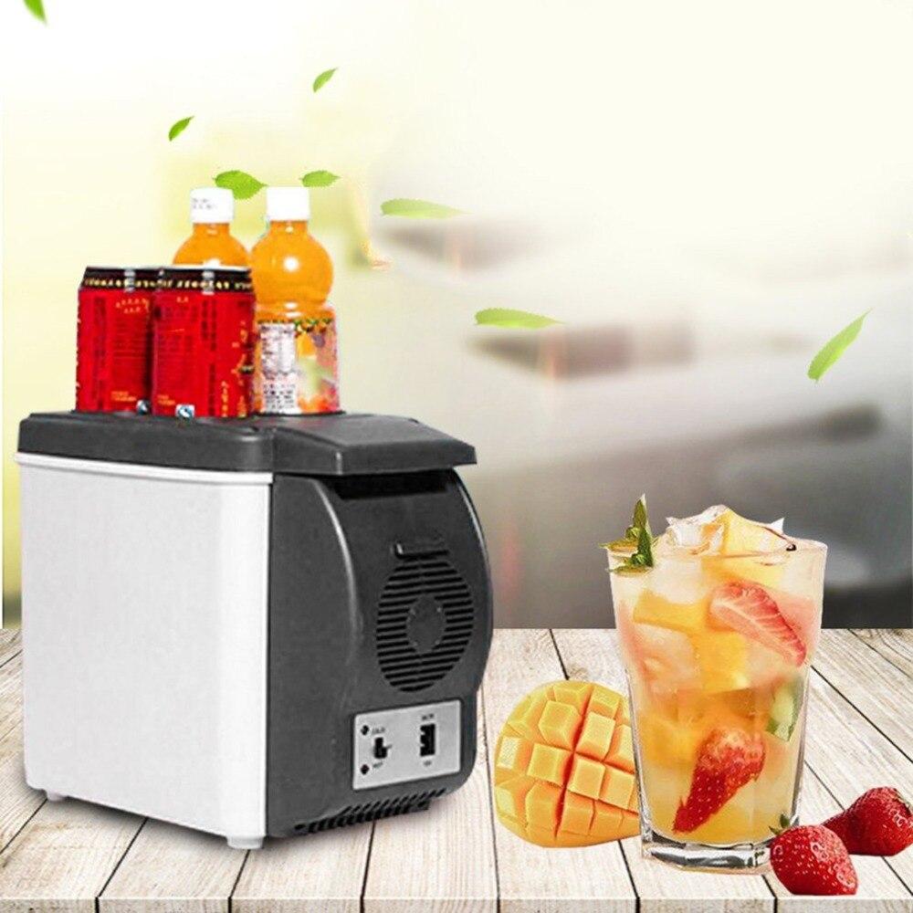 12 V 6l Mini Kulkas Mobil Dual Pendingin Minuman Hangat Abs Portable Lemari Es Car Refrigerator Simpan Dingin Perjalanan Luar Ruangan Freezer Universal Di Dari Sepeda Motor
