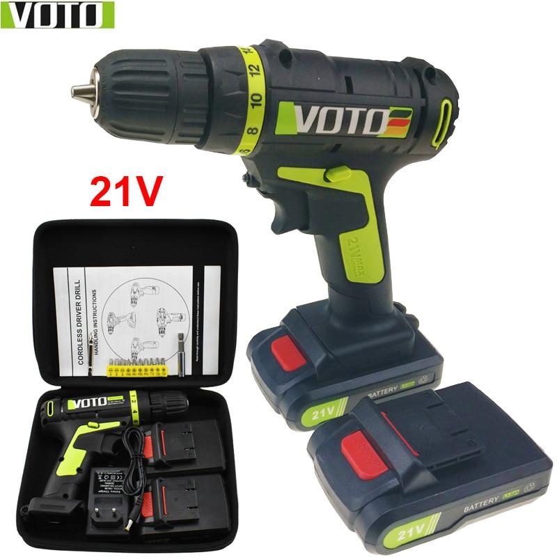 21V Power Tools Cordless Drill Electric Drill Electric Mini Electric Drilling Batteries Screwdriver Handheld Drill Eu Plug