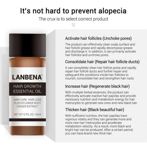LANBENA Hair Faster Growth Essence Hair Growth Beauty Essential Oil Liquid Treatment Preventing Hair Loss Hair Care Andrea 20ml Multan