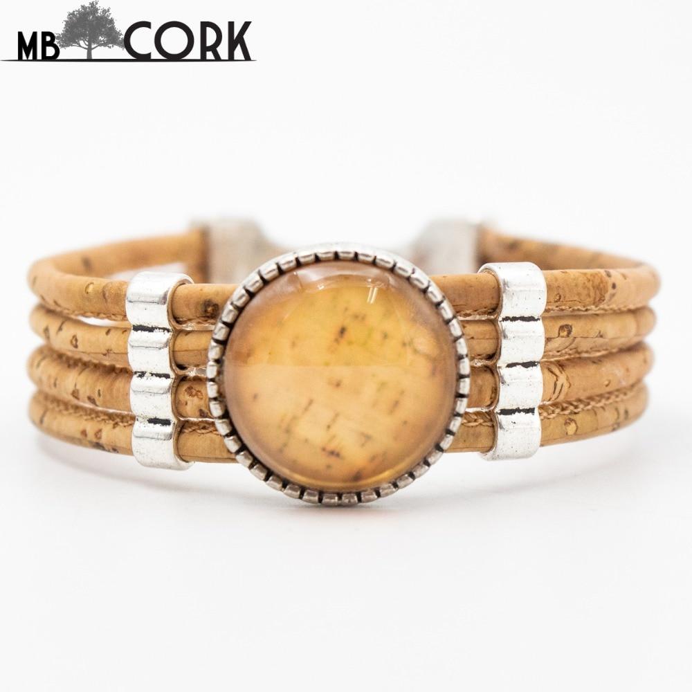 Cork Jewelry: Natural Cork Bracelet Portugal Cork Yellow Color Pattern