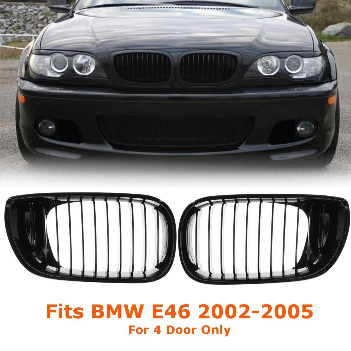 2 Pcs Carro Gloss Black Carro Frente Rim Corrida Grille Grill Para BMW E46 LCI Facelift 4D 325i 2002 2003 2004 2005