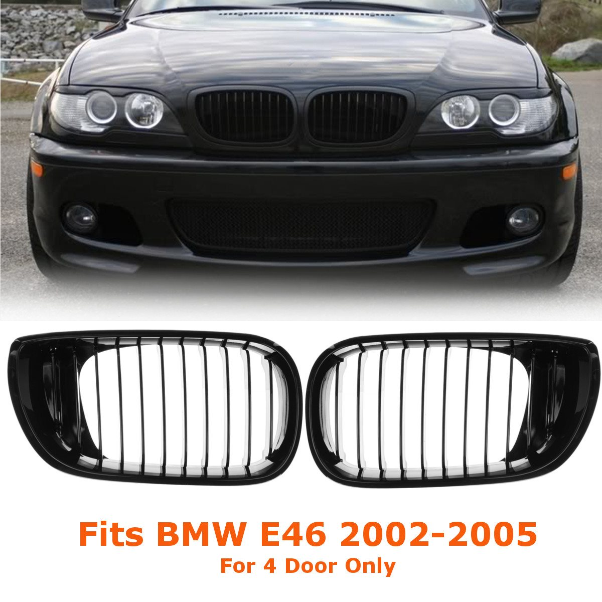 2 pçs carro gloss preto frente rim corrida grade grill para bmw e46 lci 4d 325i facelift 2002 2003 2004 2005