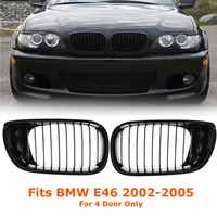 2Pcs Car Gloss Black Car Front Kidney Racing Grille Grill For BMW E46 LCI 4D 325i Facelift 2002 2003 2004 2005