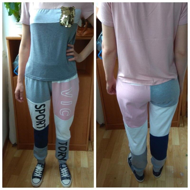 Cut And Sew Letter Print Sweatpants Multicolor Elastic Waist Drawstring Colorblock Sweatpants Women Athleisure Pants photo review