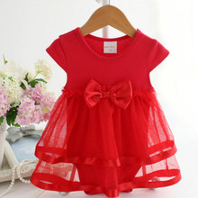 2017 New Female Baby Bow Summer Clothes Girl Dress Jumpsuit Elegant Princess Tulle Gown Event Lolita Style Mesh Knee-length