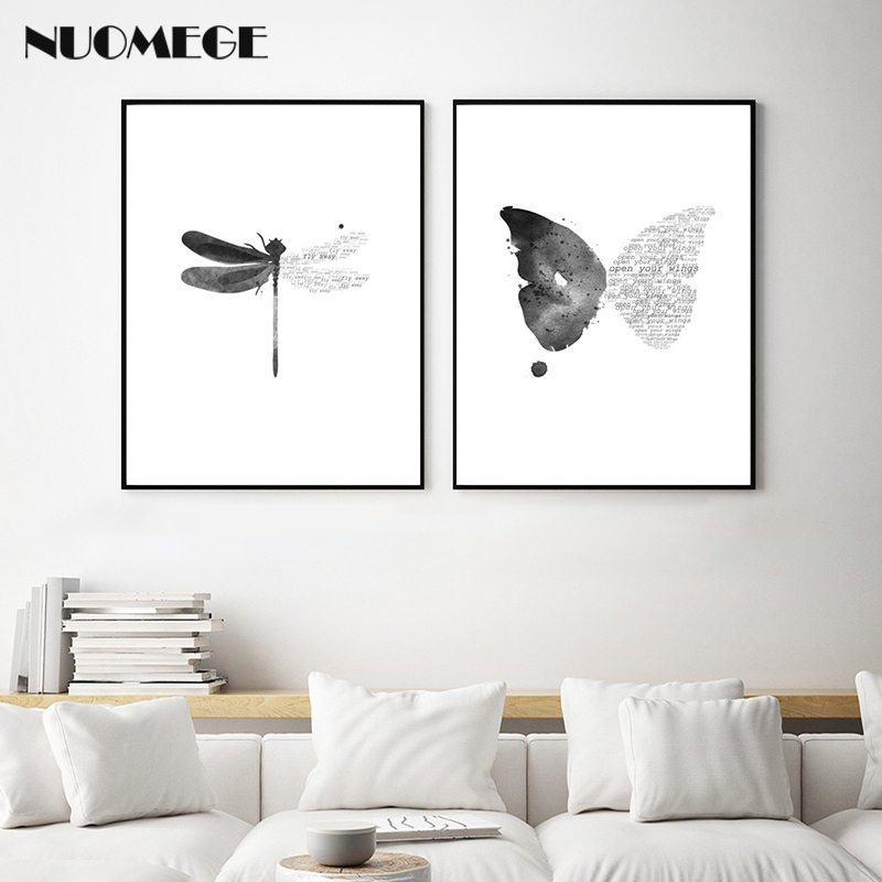 Us 3 35 44 Off Nordic Style Wall Art Dragonfly Canvas Painting Butterfly Poster Black And White Minimalism Decorations Picture For Living Room In