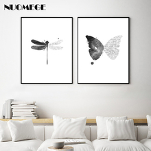 Nordic Style Wall Art Dragonfly Canvas Painting Butterfly Poster Black and White Minimalism Decorations Picture for Living Room