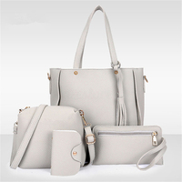 3bfc90469539 4Pcs Set Women Faux Leather Handbag Shoulder Bag Tote Purse Messenger  Clutch  0.0
