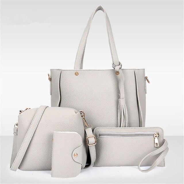 4Pcs/Set Women Faux Leather Handbag Shoulder Bag Tote Purse Messenger Clutch