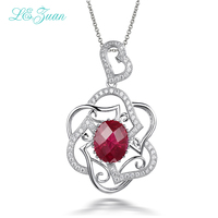 L Zuan S925 Sterling Silver Necklace With 5ct Red Stone Luxury Pendant Fine Jewelry For Women