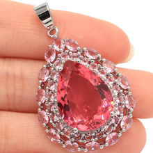 SheCrown Deluxe Top AAA+ Big Drop Gemstone 20x15mm Pink Morganites Gift For Sister Silver Pendant 44x26mm