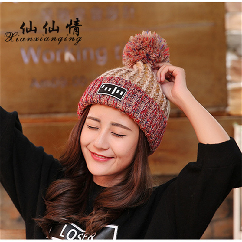 XIANXIANQING Winter Women Hat Solid Lady's Beanie High Fashion Street Caps Womens Faux Knitting Wool Cap New Color Hats m8231 the new children s cubs hat qiu dong with cartoon animals knitting wool cap and pile