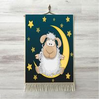 Else Navy Blue Yellow Star Moon Cute White Lamp 3D Kids Room Decorative Gift Wall Art Rope Hanging Rug Carpet Tasseled Tapestry