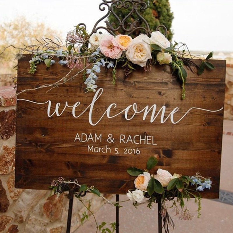 Wedding Welcome Sign Rustic Wedding Sign Wooden Name Sign Memory Collection image