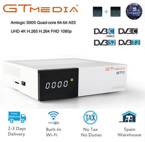 GT MEDIA GTC Satellite Receiver DVB-S2 DVB-C DVB-T2 ISDB-T Amlogic S905D android 6.0 TV BOX 2GB RAM 16GB ROM BT4.0 freesat 5pcs free sat ota freesat gtc s905d android 6 0 tv box dvb s2 t2 cable isdb t digital satellite receiver combo