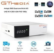 цена на GT MEDIA GTC Satellite Receiver DVB-S2 DVB-C DVB-T2 ISDB-T Amlogic S905D android 6.0 TV BOX 2GB RAM 16GB ROM BT4.0 freesat