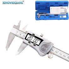 Calibrador Vernier Digital de acero inoxidable, 150mm, 6 pulgadas, resistente al agua IP54, LCD, medidor electrónico, micrómetro m/in, herramienta de medición