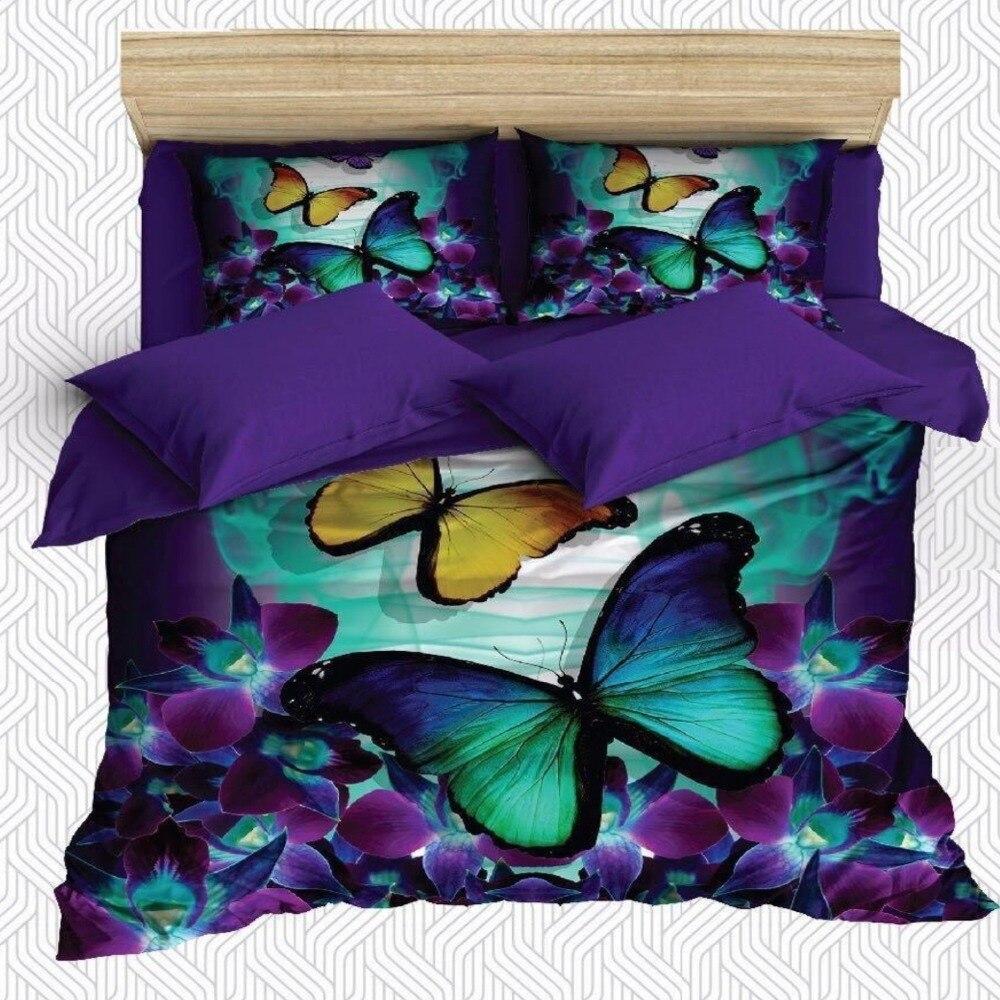 Autre 6 pièces violet vert fleurs jaune papillon impression 3D coton Satin Double housse de couette literie ensemble taie d'oreiller drap de lit