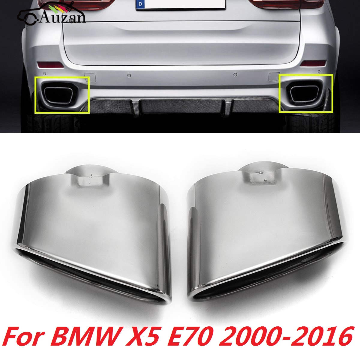 Pair Chrome Exhaust Dual Tail Pipe Muffler Tip Stainless