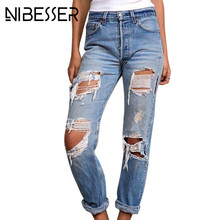 NIBESSER 2017 Hole Ripped Jeans Women Mid Wasit Fashion Boyfriend Demin Pants Blue  Female Trousers Jeans Z30