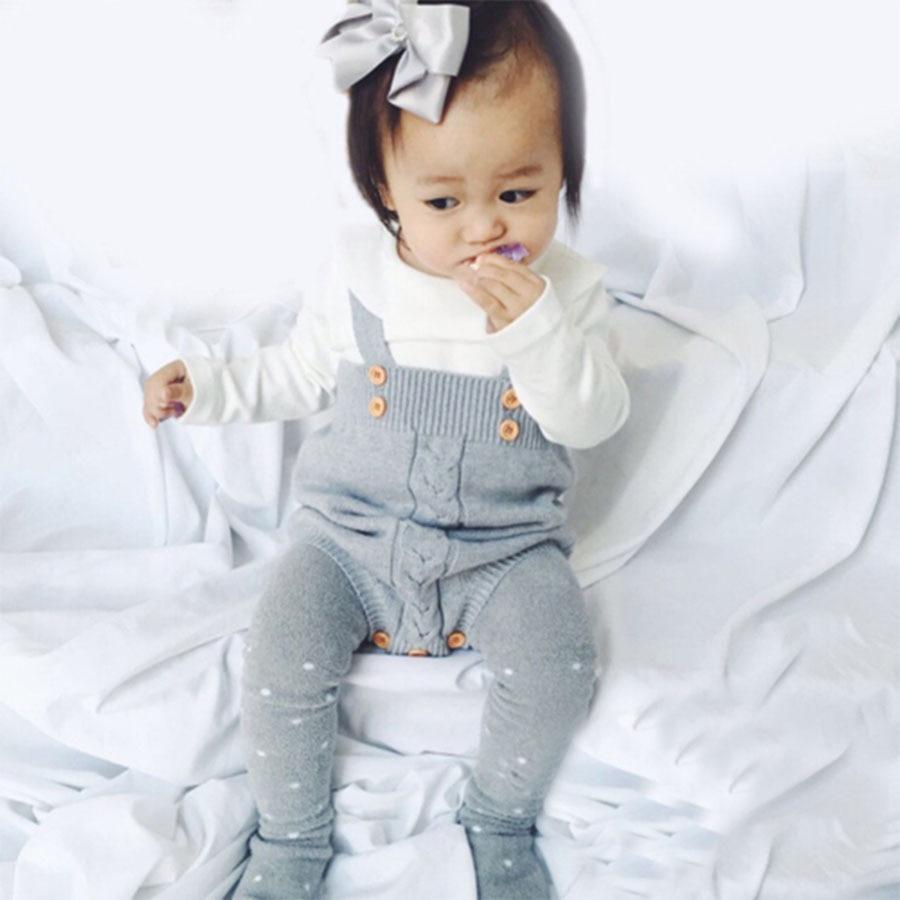 Modna jesienno-niemowlęca Body dziecięce Szare kombinezony - Odzież dla niemowląt - Zdjęcie 2