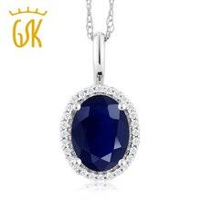 Gemstoneking 10 К Белое Золото Свадебные украшения 1.79 КТ овальной Природный синий сапфир и бриллиантами кулон Цепочки и ожерелья для Для женщин