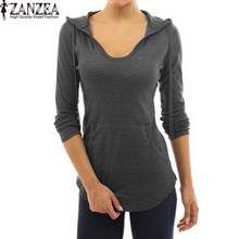 ZANZEA 2017 Womens Autumn V Neck Solid Slim Plunge Long Sleeve Hoodies Sweatshirt Casual Hooded Pullovers Tops Blouses S-5XL