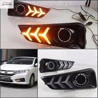 JanDeNing 2X LED Daytime Running Light Fog Light DRL White To Yellow Turn Signals DRL Light For Honda City 2015