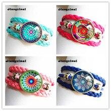 24pcs silver henna bracelets Mandala Flower Art Glass Round Dome bracelet for Women Jewelry