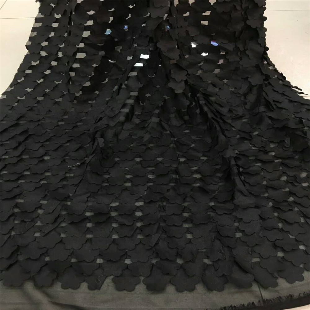 African Tulle Lace Fabric 3D Flower Fabric 2018 High Quality Black Lace Fabric Fashion Wedding Party