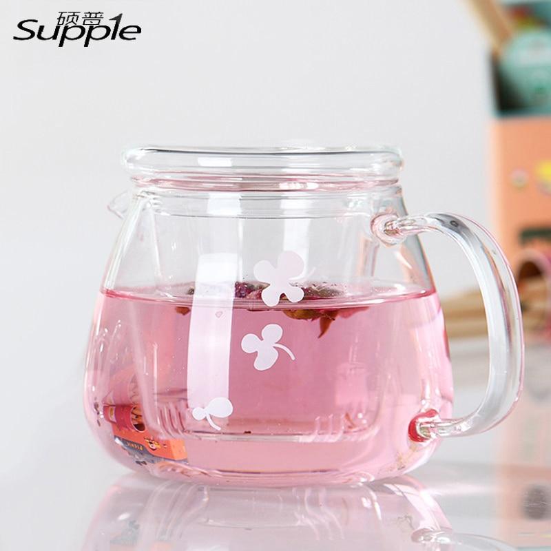 Hot Sale New Arrival 500ML Heat Resistant Hyaline <font><b>Glass</b></font> Teapot Coffee Tea Set Office Flower Tea Pot With Filter Tea Sets