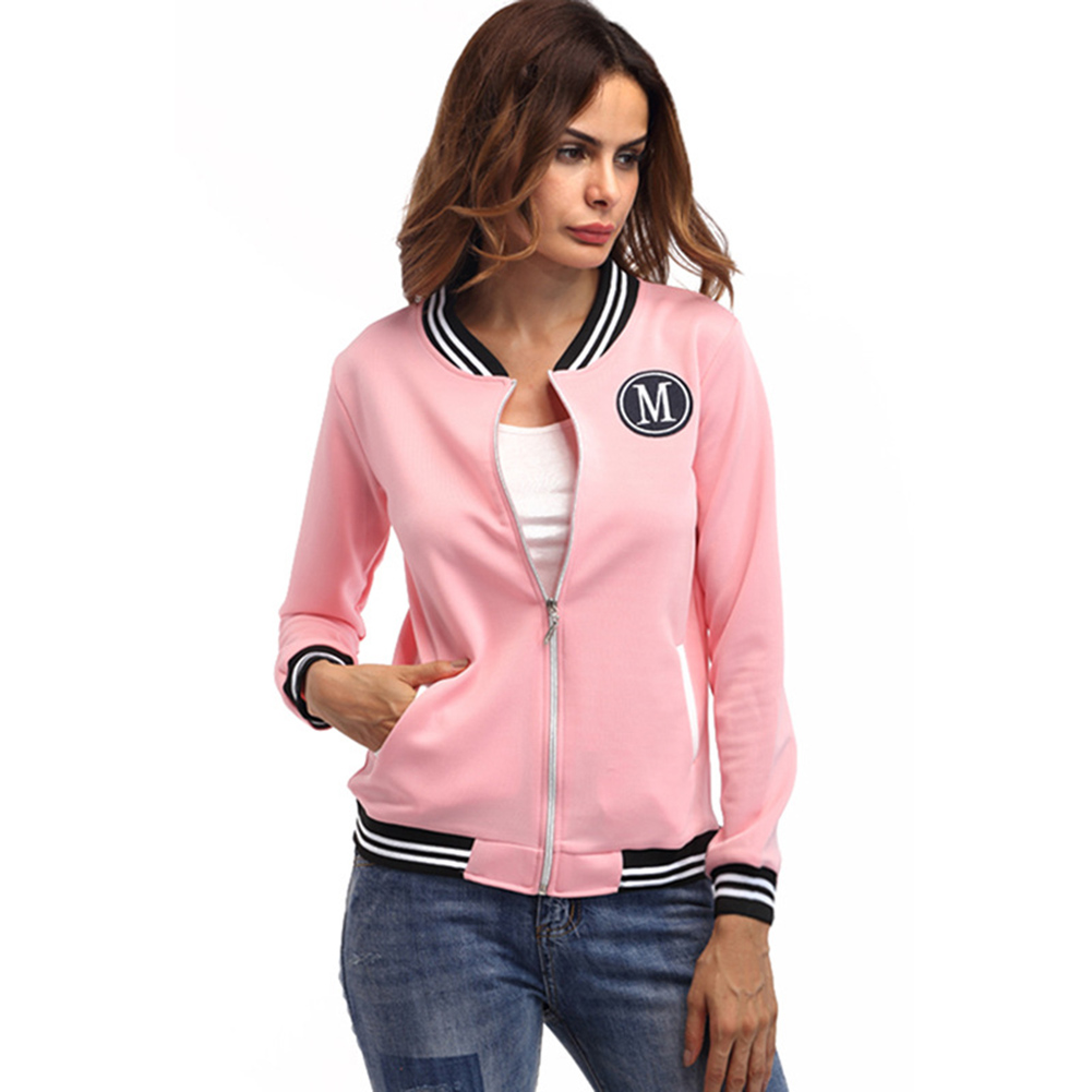2017 Autumn And Winter New Jacket Women M Word Badge Coat Round Collar Long Sleeved Pink Slim Zipper Woman Outerwear
