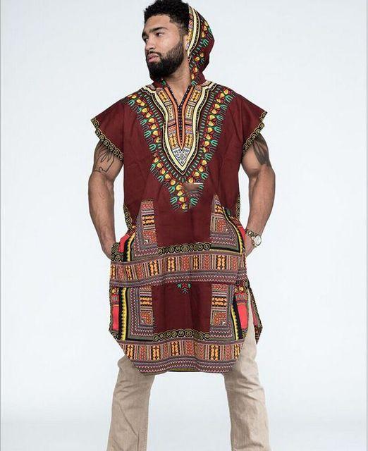 Africain Tribal boho Hommes Dashiki Imprimer Noir Succincte Hippie Top t chemises casual lâche Vêtements à capuchon